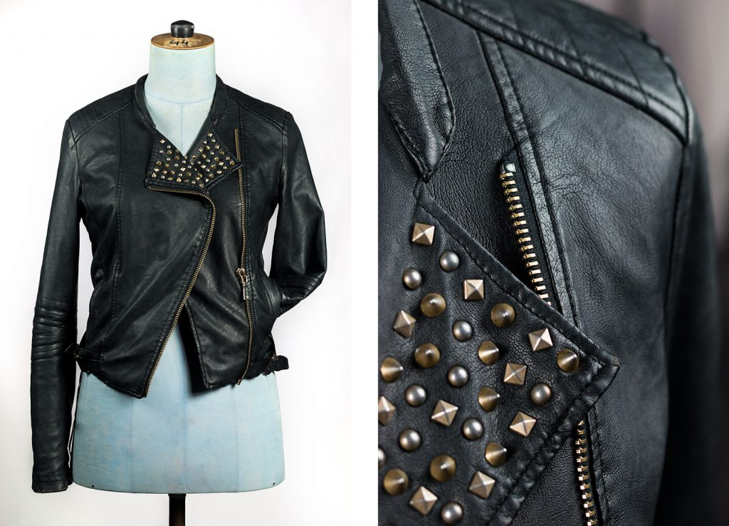 Matière textile veste en cuir noir à clou