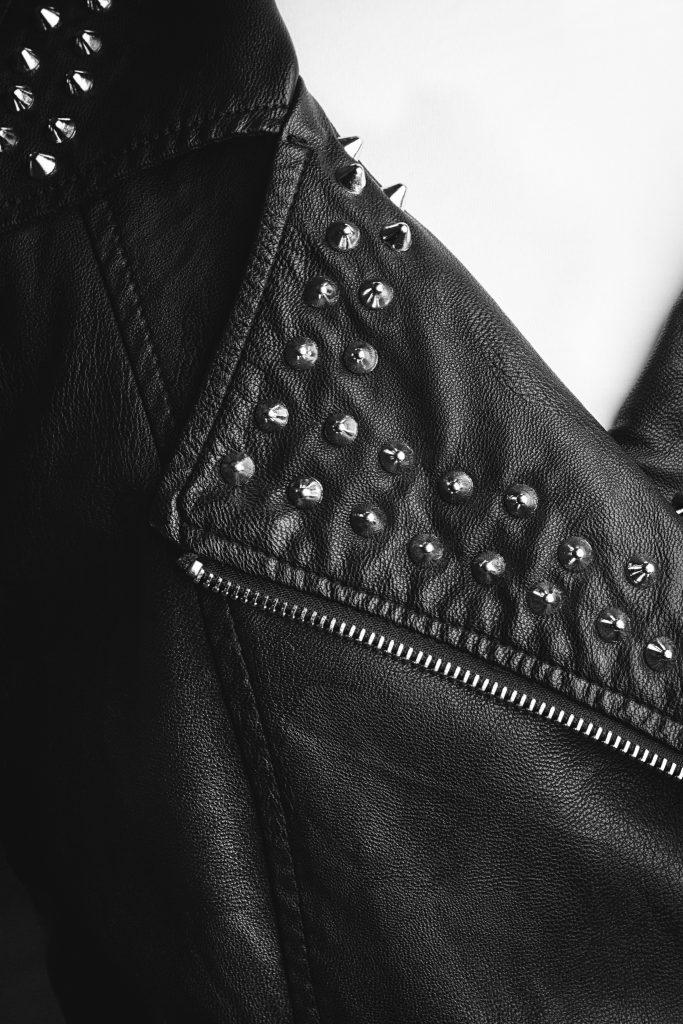 Textile veste en cuir en noir et blanc