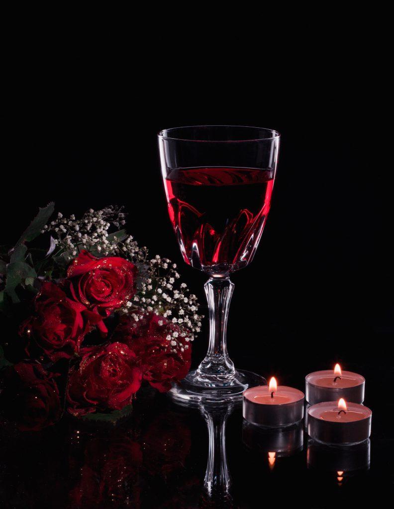 Mise en ambiance du verre: le vin
