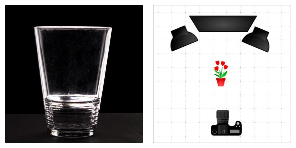 Éclairage du verre en contre jour, sur fond noir