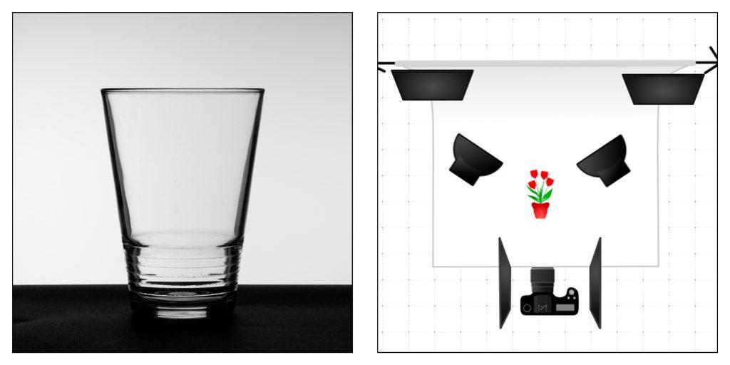 Éclairage du verre par réflexion avec ajout de cartons noirs
