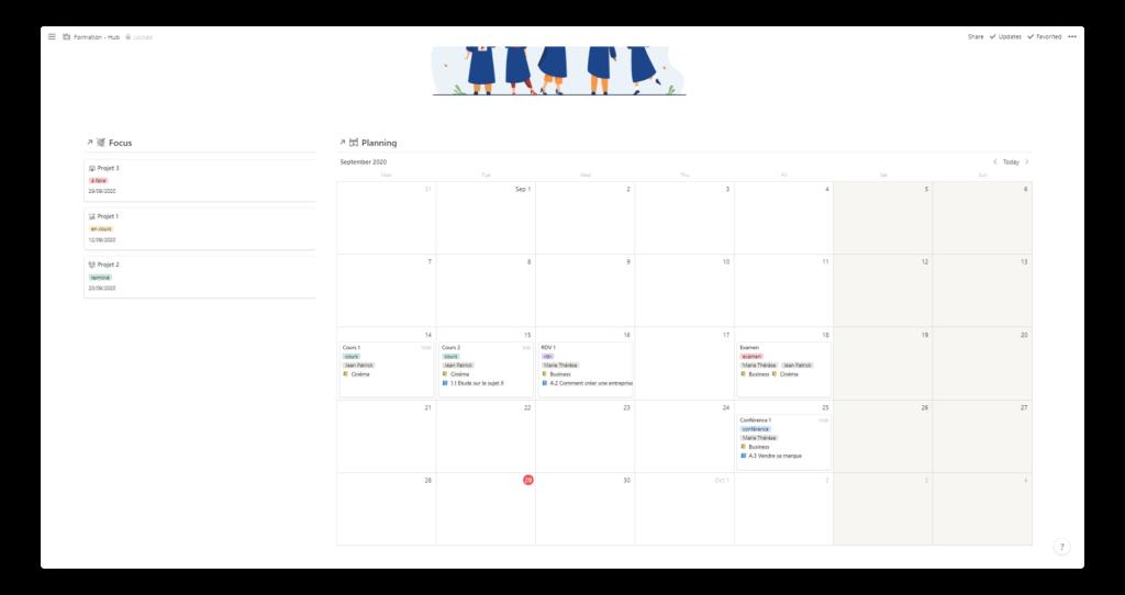 template notion pour les étudiants : calendrier