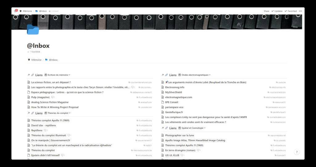 template notion pour les étudiants : exemple d'inbox remplie