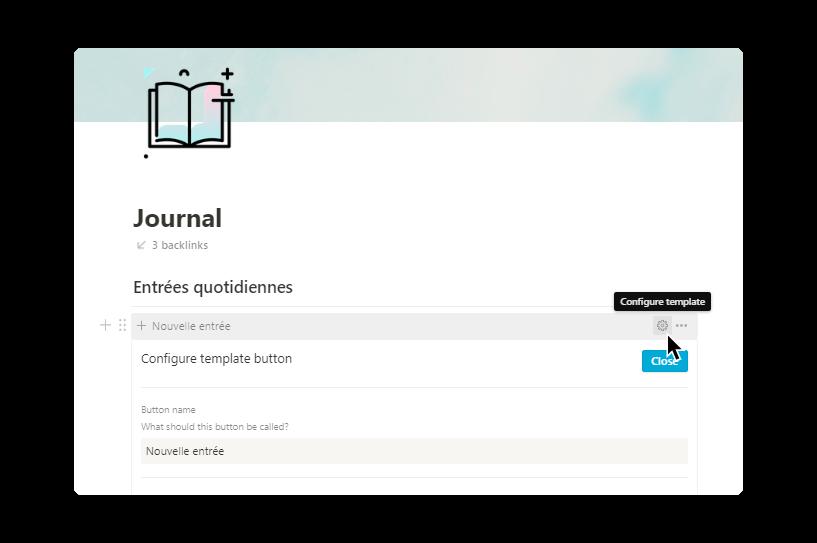 template notion pour les étudiants : journal, configuration du bouton template