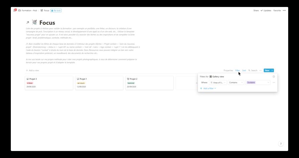 template notion pour les étudiants : database focus filtres