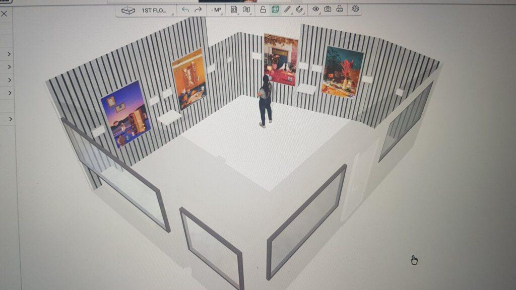 projection 3d de la scénographie du projet de charlotte moricand aux anciennes douanes de paris