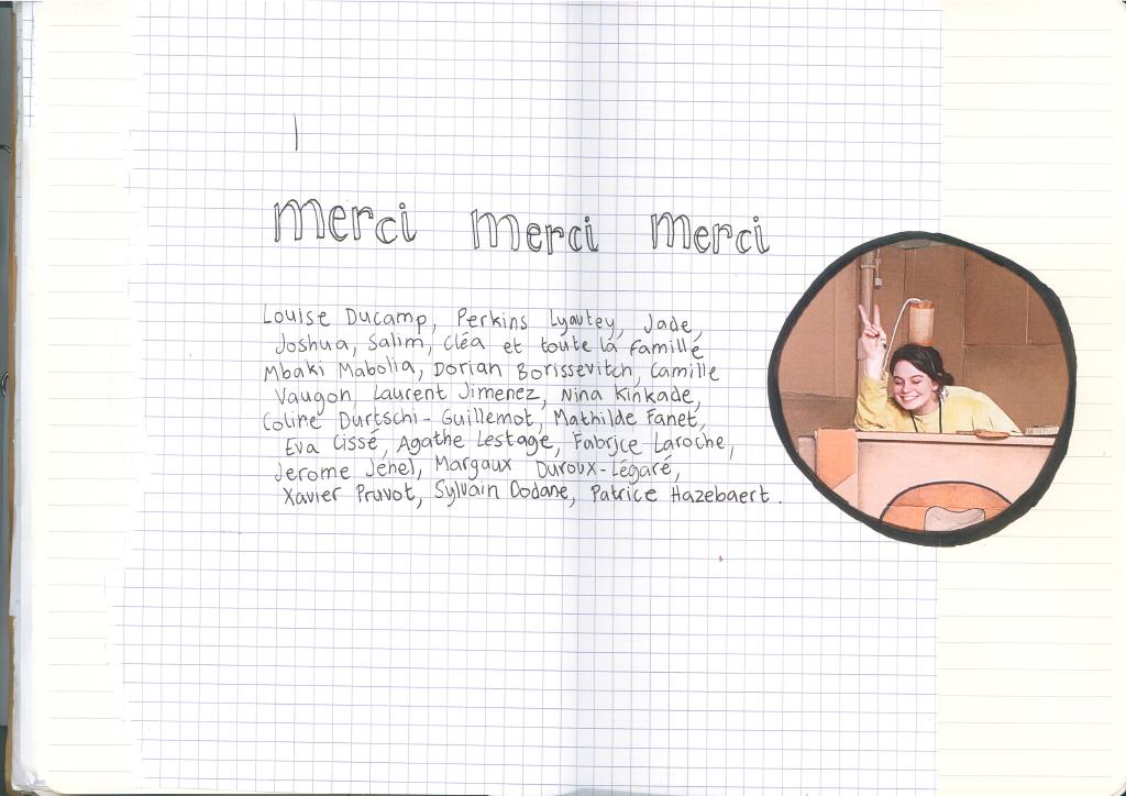Journal de bord de Lisa Tiebout : page remerciements